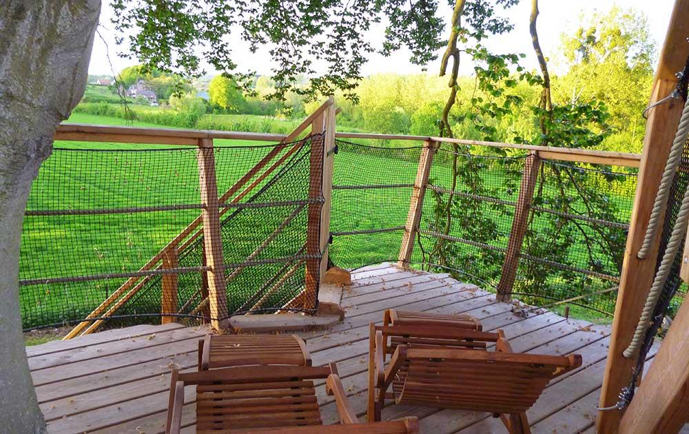 Cabane dans les arbres terrasse Baie de Somme